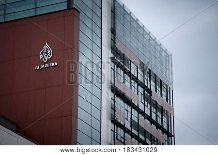SARAJEVO BOSNIA HERZEGOVINA - APRIL 17 2017: Logo of the information TV Channel Al Jazeera Balkans on their headquarters for Southeastern Europe