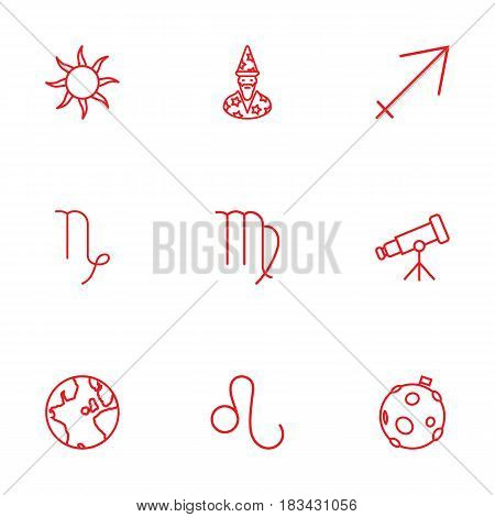 Set Of 9 Horoscope Outline Icons Set.Collection Of Leo, Virgo, Sagittarius And Other Elements.