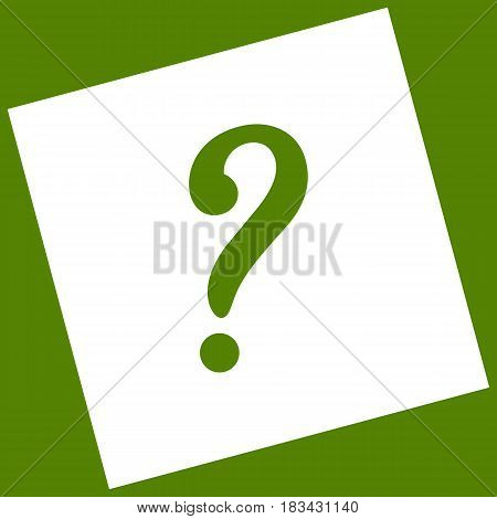Question mark sign. Vector. White icon obtained as a result of subtraction rotated square and path. Avocado background.