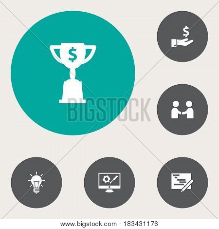 Set Of 6 Idea Icons Set.Collection Of Goblet, Bulb, Meeting And Other Elements.