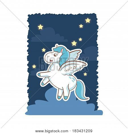 unicorn fantasy toy mystery wings night background poster vector illustration