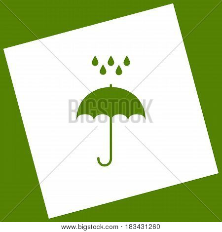 Umbrella with water drops. Rain protection symbol. Flat design style. Vector. White icon obtained as a result of subtraction rotated square and path. Avocado background.