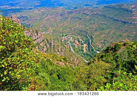 View of the Llobregat river valley from the Monserrat Mountain, near Barcelona, Spain