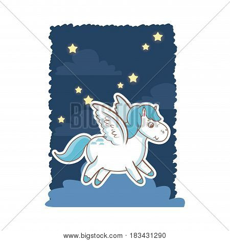 unicorn wings magic animal night background poster vector illustration