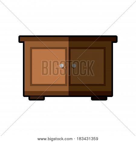 wooden side table furniture design vector illustration