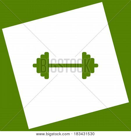 Dumbbell weights sign. Vector. White icon obtained as a result of subtraction rotated square and path. Avocado background.