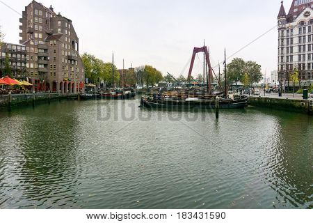 ROTTERDAM, Netherlands - November 12,2017 : Street view of Port of Rotterdam, the nickname