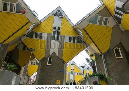 ROTTERDAM, Netherlands - November 12, 2017 : Cube houses in Rotterdam City Netherlands. back to 1270 when a dam was constructed in the Rotte river by people settled around it for safety.