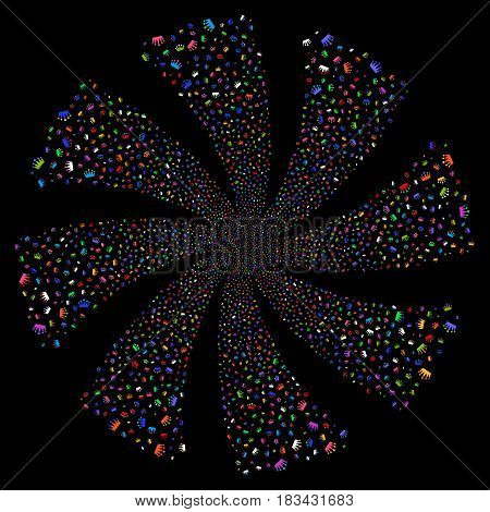 Crown fireworks swirl rotation. Vector illustration style is flat bright multicolored iconic symbols on a black background. Object whirlpool organized from random pictographs.