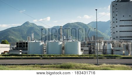 Frosinone, Italy April 23 2017: Industrial Building External View In Mountainous Location