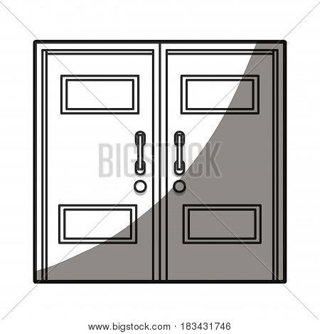 closed two door handle line shadow vector illustration