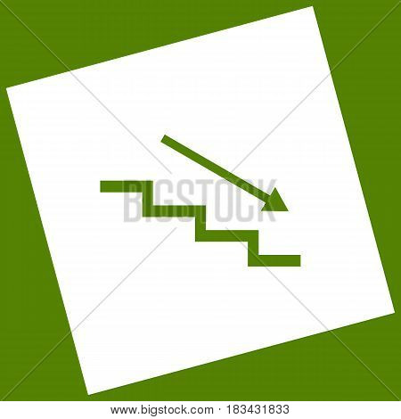 Stair down with arrow. Vector. White icon obtained as a result of subtraction rotated square and path. Avocado background.
