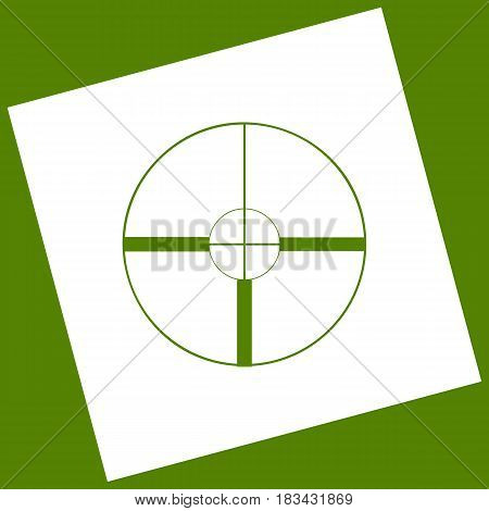 Sight sign illustration. Vector. White icon obtained as a result of subtraction rotated square and path. Avocado background.