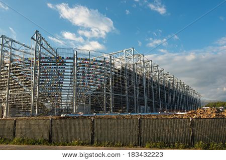 Frosinone, Italy April 23 2017: External View Of Footbal Stadium Under Construction