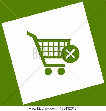 Shopping Cart with delete sign. Vector. White icon obtained as a result of subtraction rotated square and path. Avocado background.