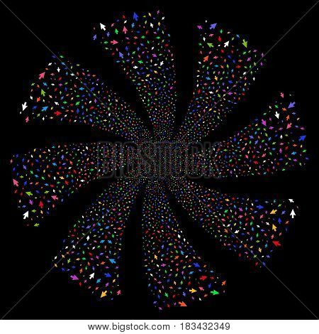 Cursor Arrow fireworks swirl rotation. Vector illustration style is flat bright multicolored iconic symbols on a black background. Object flower done from random design elements.