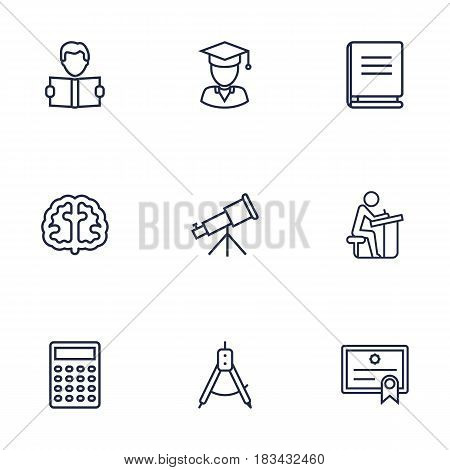 Set Of 9 Science Outline Icons Set.Collection Of Pupil, Brain, Encyclopedia And Other Elements.