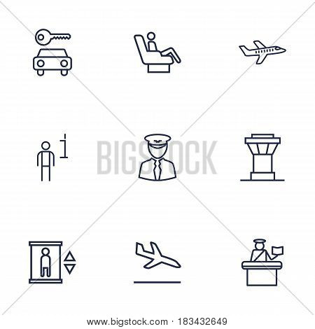 Set Of 9 Aircraft Outline Icons Set.Collection Of Passport Controller, Plane, Car Rent And Other Elements.