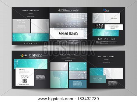 The black colored minimalistic vector illustration of the editable layout. Two creative covers design templates for square brochure. Chemistry pattern. Molecule structure. Medical, science background