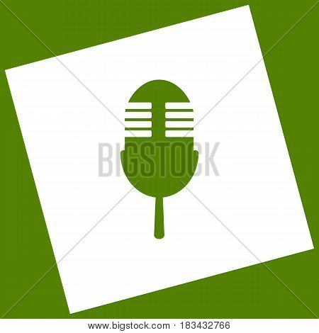 Retro microphone sign. Vector. White icon obtained as a result of subtraction rotated square and path. Avocado background.