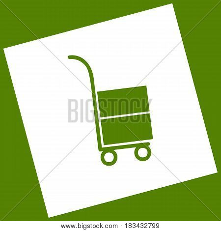 Hand truck sign. Vector. White icon obtained as a result of subtraction rotated square and path. Avocado background.