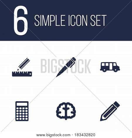 Set Of 6 Education Icons Set.Collection Of Drawing Tool, School Autobus, Calculate And Other Elements.