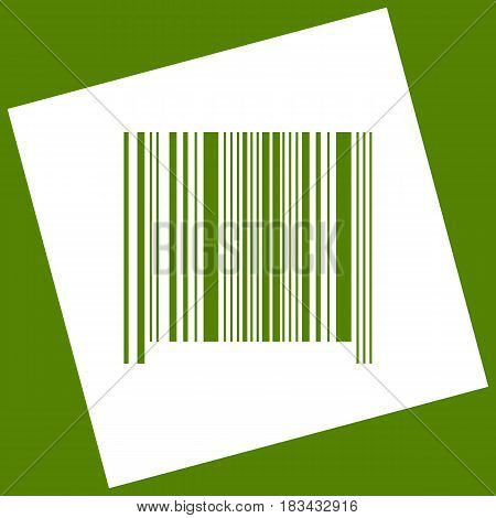 Bar code sign. Vector. White icon obtained as a result of subtraction rotated square and path. Avocado background.