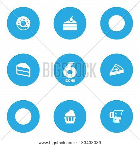 Set Of 6 Bakery Icons Set.Collection Of Muffin, Measurement, Pastry And Other Elements.