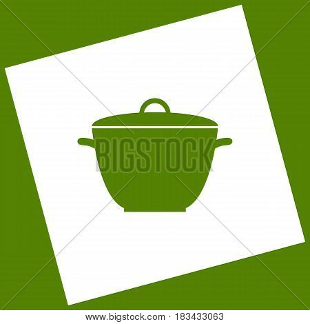 Saucepan simple sign. Vector. White icon obtained as a result of subtraction rotated square and path. Avocado background.