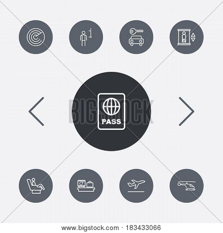 Set Of 9 Airplane Outline Icons Set.Collection Of Business Class, Certification, Luggage Check And Other Elements.