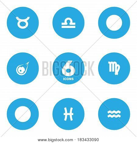 Set Of 6 Astrology Icons Set.Collection Of Comet, Virgin, Bull And Other Elements.