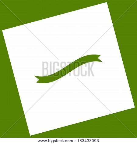 Banner ribbon sign. Vector. White icon obtained as a result of subtraction rotated square and path. Avocado background.