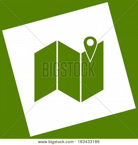 Pin on the map. Vector. White icon obtained as a result of subtraction rotated square and path. Avocado background.
