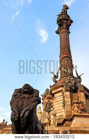 Columbus Monument in Barcelona was  constructed in 1888 in honor to Columbus first voyage to the Americas