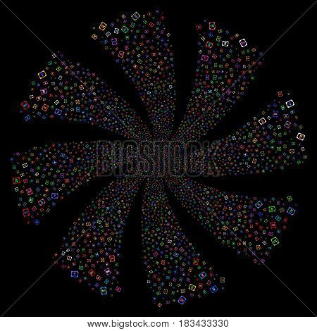 Diploma fireworks swirl rotation. Vector illustration style is flat bright multicolored iconic symbols on a black background. Object twirl constructed from random icons.