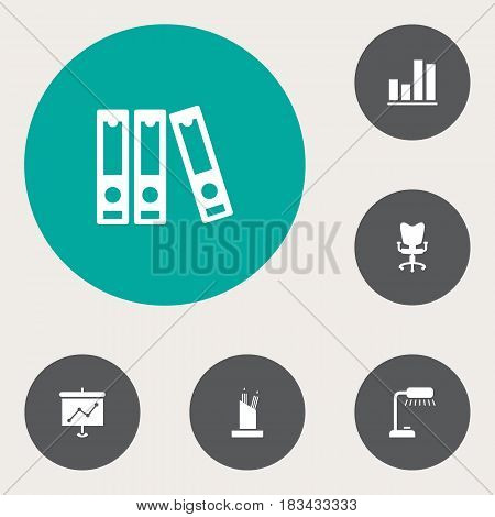 Set Of 6 Bureau Icons Set.Collection Of Presentation, File Folder, Office Chair And Other Elements.