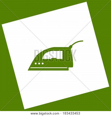 Smoothing Iron sign. Vector. White icon obtained as a result of subtraction rotated square and path. Avocado background.