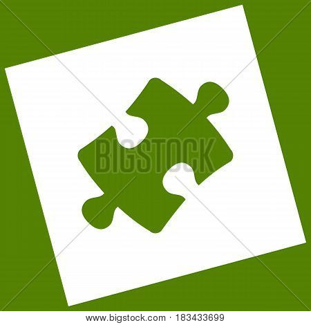 Puzzle piece sign. Vector. White icon obtained as a result of subtraction rotated square and path. Avocado background.