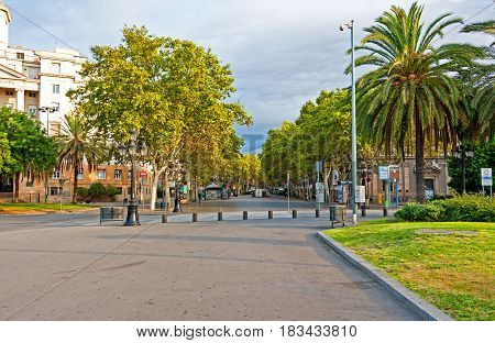 Barcelona, Spain, August 9, 2014: view of Rambla street in the early morning hours