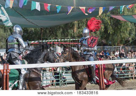 Participants In Armor Performing During The Renaissance Pleasure Faire.
