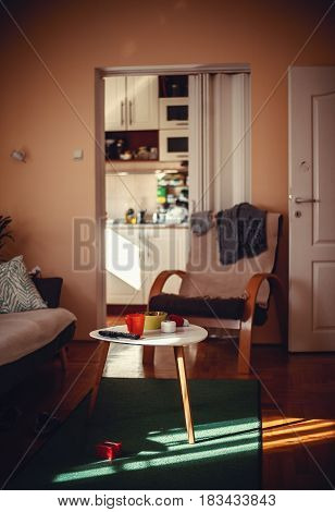 One ordinary home room interior details during sunny day.