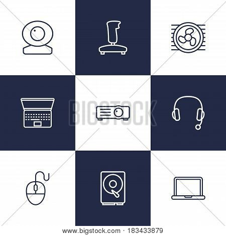 Set Of 9 Notebook Outline Icons Set.Collection Of Web Cam, Computer Mouse, Headphone And Other Elements.