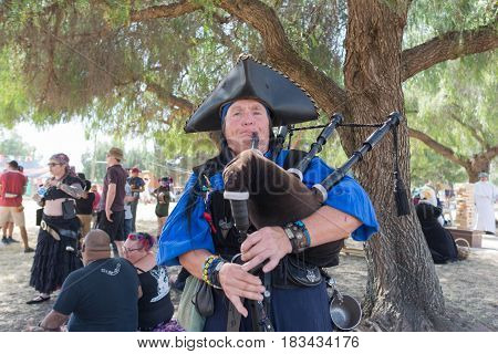 Scottish Bagpipe Player During The Renaissance Pleasure Faire.
