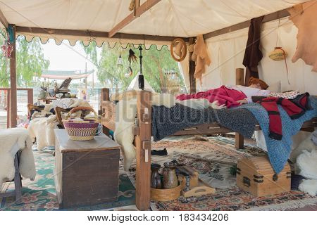 Participant Wearing Typical Clothing, Sleeping In The Celtic Tent