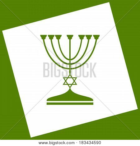 Jewish Menorah candlestick in black silhouette. Vector. White icon obtained as a result of subtraction rotated square and path. Avocado background.