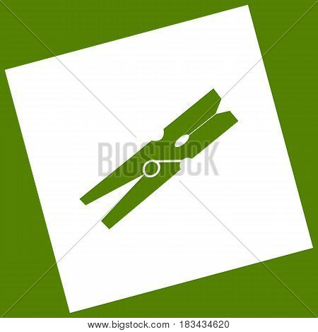 Clothes peg sign. Vector. White icon obtained as a result of subtraction rotated square and path. Avocado background.