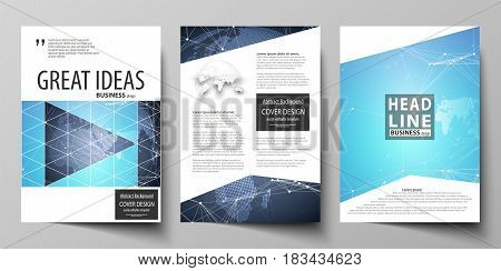 The vector illustration of the editable layout of three A4 format modern covers design templates for brochure, magazine, flyer, booklet. Abstract global design. Chemistry pattern, molecule structure