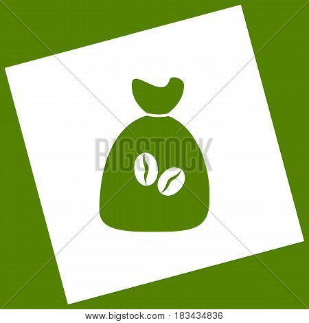 Coffee bag Icon. Coffee bag. Vector. Coffee bag Icon Button. Vector. White icon obtained as a result of subtraction rotated square and path. Avocado background.