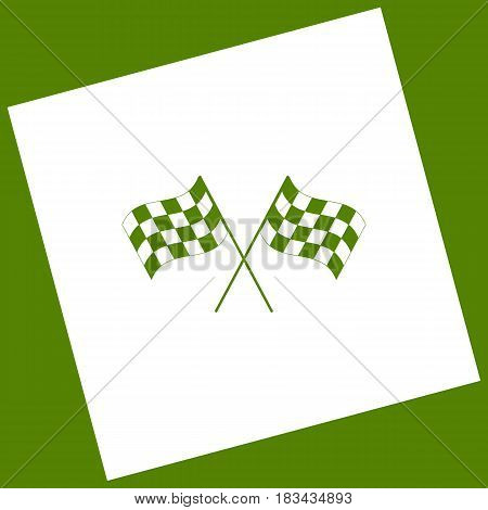 Crossed checkered flags logo waving in the wind conceptual of motor sport. Vector. White icon obtained as a result of subtraction rotated square and path. Avocado background.