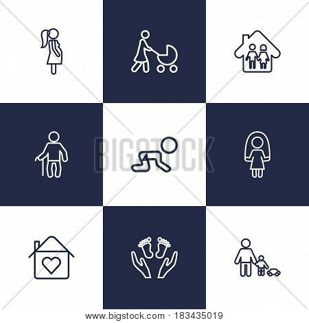 Set Of 9 People Outline Icons Set.Collection Of Grandfather, Crawling Kid, Skipping Rope Elements.